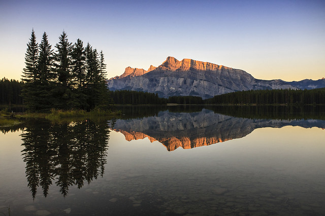 First Light on Mt Rundle