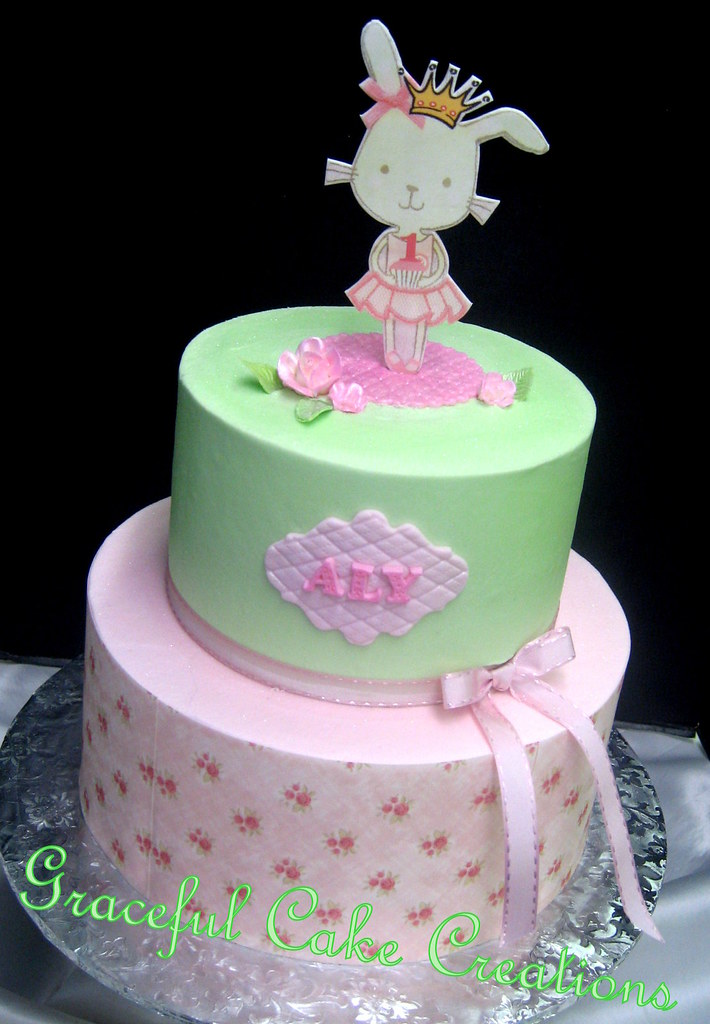 Peachy Very Girly 1St Birthday Cake With A Mint Green And Pink Gi Flickr Funny Birthday Cards Online Alyptdamsfinfo
