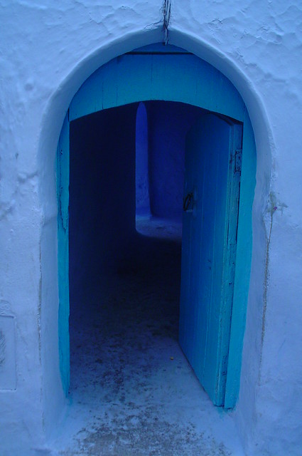 Typical door from Chefchaouen, Morocco.