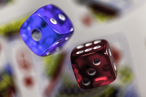 Dice with playing cards
