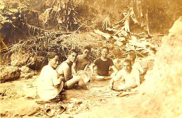 Leaders in a brook: Manuel Quezon, Amado Araneta, Sergio Osmeña and Alfredo M. Montelibano Sr.