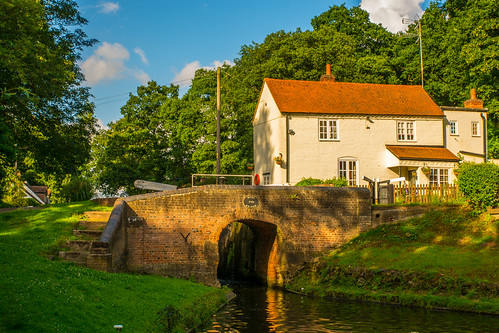 uk bridge trees summer england sky building green water beautiful architecture clouds reflections canal woods woodlands nikon gate arch shadows outdoor lock cottage steps peaceful shade serene staffordshire westmidlands banks towpath waterways kinver 2016 southstaffordshire lockkeeperscottage lushfoliage d7100 hydelock tamron2470f28vc staffordshireworcestersahirecanal