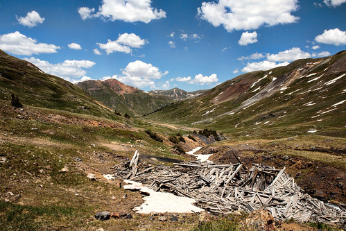 mountains rockymountains sanjuanmountains valley mining ghosttown colorado coloradotrails offroad outdoor nature naturallight color grass green sky clouds contrast abandoned forgotten decay wood weathered travel trip vacation summer canon eos ef2470mmf28lusm 6d topazlabs exploring explorer