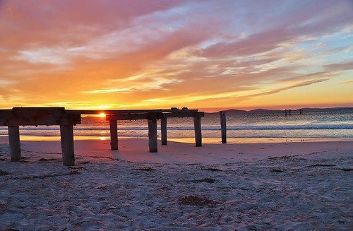 esperance jetty sunrise water pink