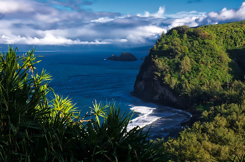 blue bluesky ocean outdoors outside pacific cliffs green waves landscapes landscape shadows sunset island hawaii