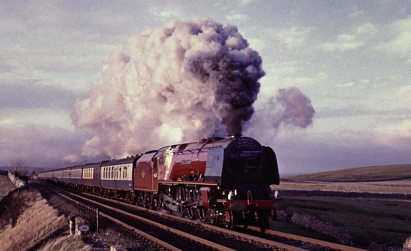 Duchess of Hamilton with a southbound CME on 7/1/1984 Copyright David Price No unauthorised use