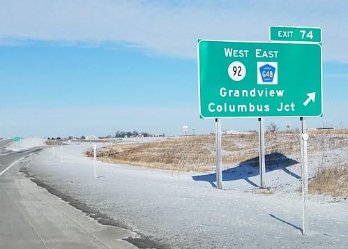 us61 ia92 countyroadg48 ia252 interchange bgs grandview louisacounty