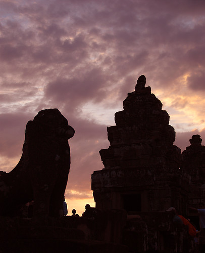 Sunset at the ruins of Angkor Wat in Cambodia
