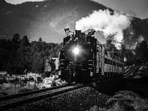 grandcanyonrailway north excbq 4960 steam landscape mountains locomotive train blackwhite arizona railroad railway usa