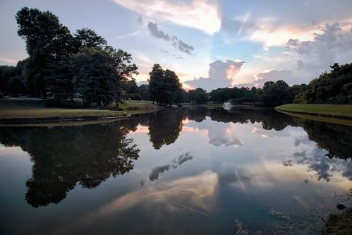 dorameulman june summer nature sunset clouds sky reflections lake inmybackyard gastonia northcarolina landscape landscapephotography haiku poem canon7dmark11 evening twilight beautiful serene