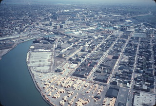Aerial view of Newtown Creek looking east over Greenpoint, Brooklyn and Queens 1982 | by NYCEDC