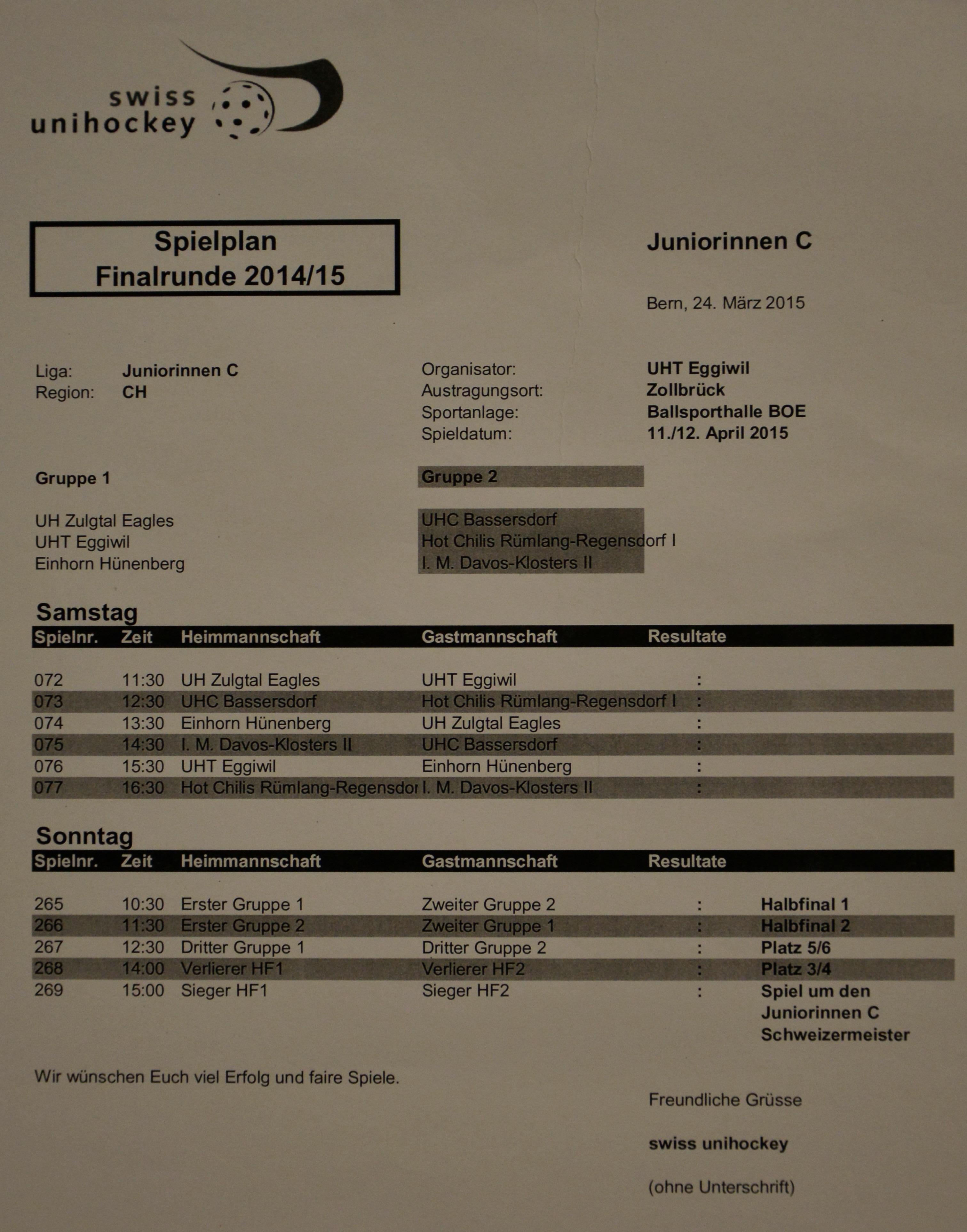 Juniorinnen C - Gruppenspiele Schweizer Meisterschaften Saison 2014/15