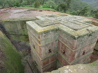 Looking down at St George's Church Lalibela Ethiopia