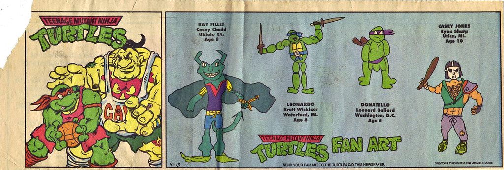 TEENAGE MUTANT NINJA TURTLES  { newspaper strip } TURTLES FAN ART ; ..art by Berger - MIKEY vs. Tattoo 1-on-1 :: 09131992 by tOkKa