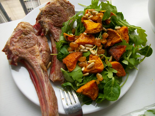 Indian-rubbed spiced lamb chops with butternut squash salad