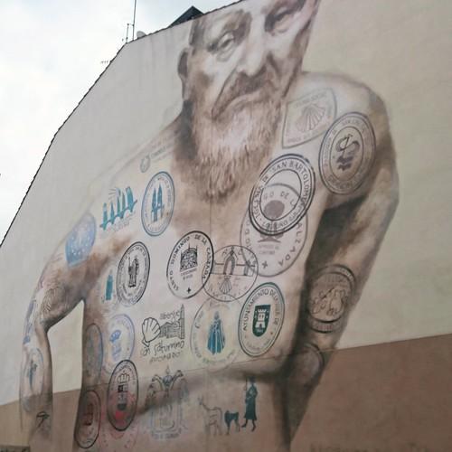 Pilgrim art in Logroño, Spain   by anywhereism