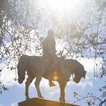 Charlotte Square Gardens   The sun shines down on the Prince Albert statue  © Helen Jones