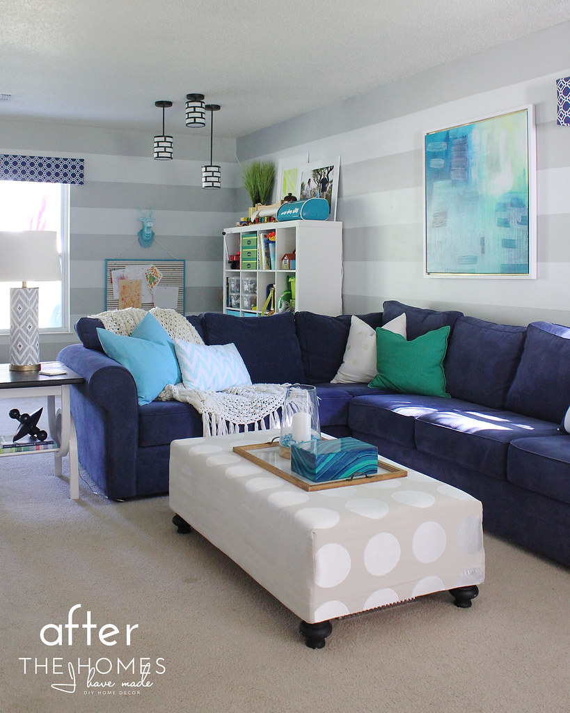 Navy and Turquoise Family Room Reveal | TheHomesIHaveMade ...
