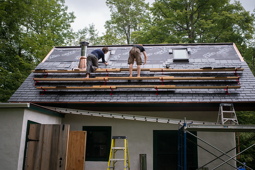 Us Working on Slate Roof of Straw Bale Cottage | by goingslowly