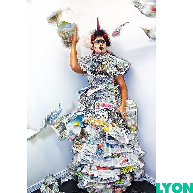 Demise of the Newspaper Dress - dress design: Aleah Leigh Designs, image: James Alexander Lyon, Model: Anna d'Cor MUA/Hair: @joannastrange of UCB, Creative Director: Iain Burton-Legge, location: The Photographic Show, NEC Birmingham. #fashion #FashionPhot