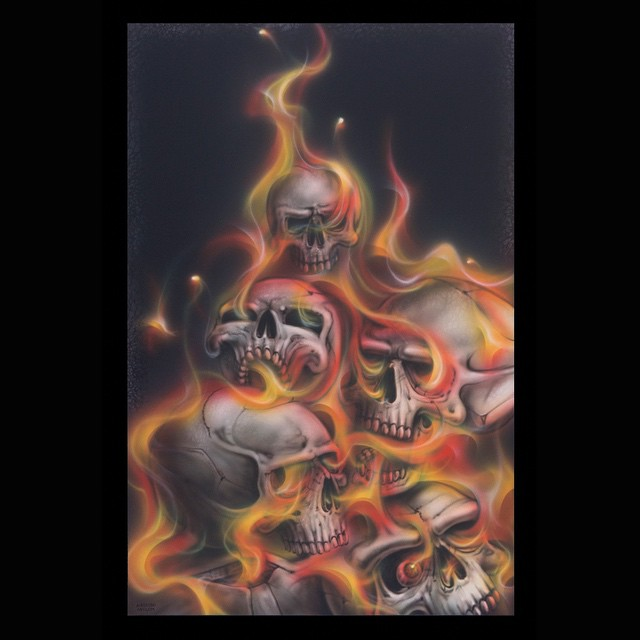 Completed Skulls and Flames artwork, airbrushed using Trident waterbased airbrush paints for a new product launching very soon. #airbrush #airbrushed #airbrushart #airbrushing #airbrushasylum #airbrushartists #airbrushcolours #darkart #evilart #skull #sku
