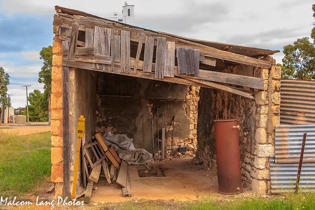 Old limestone block garage
