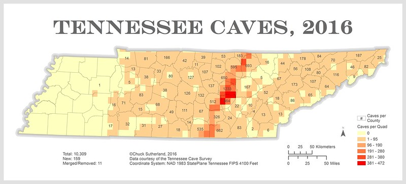 Caves In Tennessee Map Chuck Sutherland: Tennessee Cave Distribution Map, 2016