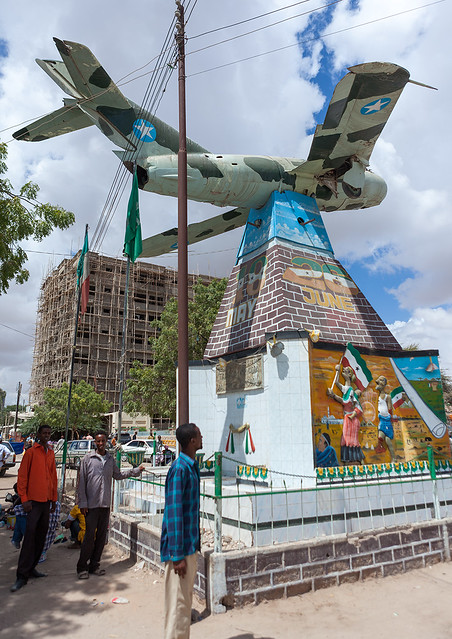 Mig monument commemorating somaliland's breakaway from the rest of somalia during the 1980s, Woqooyi Galbeed region, Hargeisa, Somaliland
