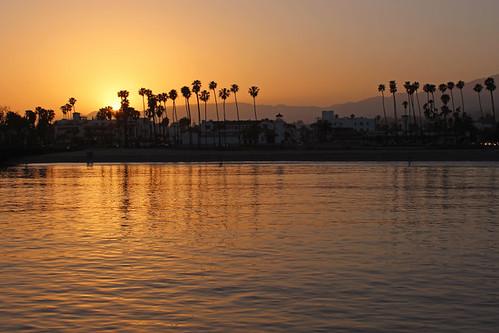 santa barbara ca california sunset stearns wharf pacific ocean palm trees beach june 2018