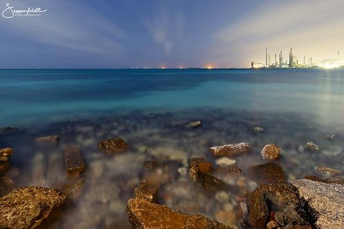 aruba sannicolas serocolorado colony nightphotography lightpainting seascape rocks longexposure night horizon refinery canoneos6d canon 6d