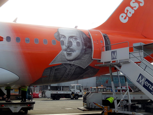 Easyjet G-EZBI Romeo Alpha Juliet closeup of Shakespeare art
