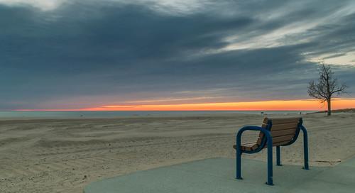 sunset holland beach clouds bench geotagged evening sand nikon unitedstates michigan lakemichigan hollandstatepark hbm nikond5300