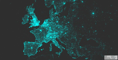 Visualization of geotagged Flickr photos (Europe), 2007-2015