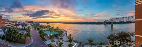 sunset panorama downtown balcony patio riverfront ohioriver owensboro rpc bluebridge riverparkcenter smotherspark veteransblvd glovercary
