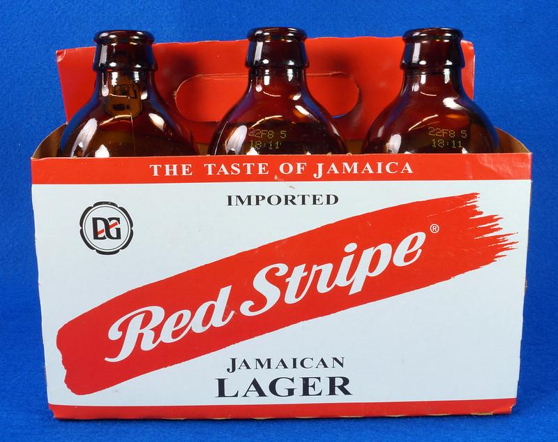 RD14201 6 Red Stripe 12 oz Brown Stubby Beer Bottles in Original 6 Pack Carton DSC05344