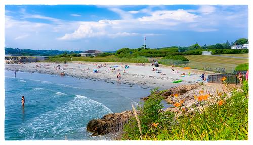 flowers people beach fence us unitedstates flag large rhodeisland newport cliffwalk 2016 0716 clichésaturday