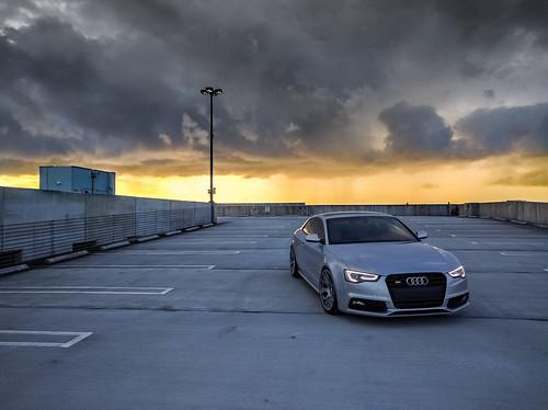 audi b8 b85 a5 s5 audizine sunrise clouds sky garage car bbs