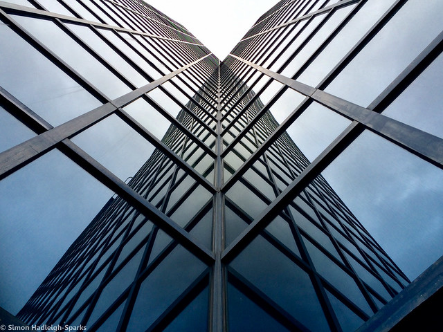 Reflected Wings On A Steel Butterfly - London City Office Life 2015 Version by Simon Hadleigh-Sparks