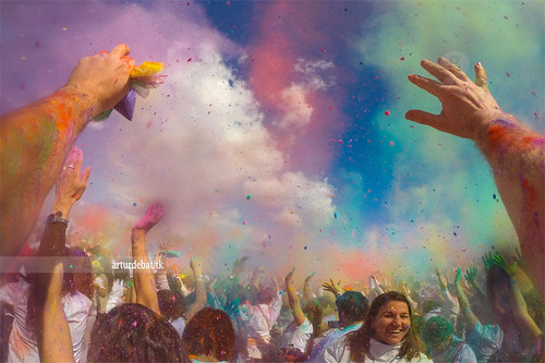 party sky people india girl smile festival clouds happy spring colorful europe action pov smoke crowd catalonia powder celebration pointofview enjoy welcome moment dust holi handsup sabadell gopro armsrised