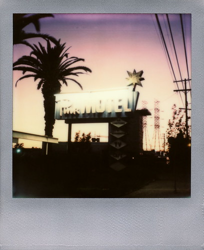california road ca pink sunset toby sun color tree film silhouette sign by silver project polaroid sx70 for star la tv los san neon angeles air motel utility palm illuminated pole pylon cables tip wires cameras valley frame type electricity fernando instant lit sonar hancock edition impossible the refrigeration conditioned sx70sonar tobyhancock impossaroid