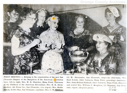 San Clemente D.A.R. news clipping, 1960s