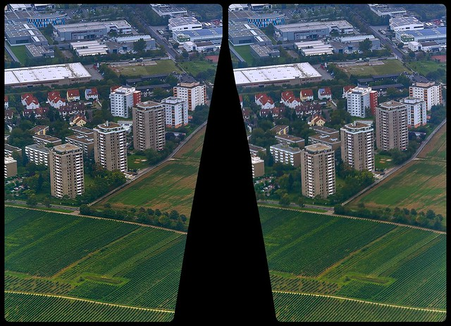 Three Tower Blocks 3-D / CrossEye / Stereoscopy / Aerial View