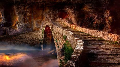 greece zagori stonebridge bridge kokoris noutsos landscape reflection rock sunrise shchukin sigma nikond5200 footbridge archbridge river fog