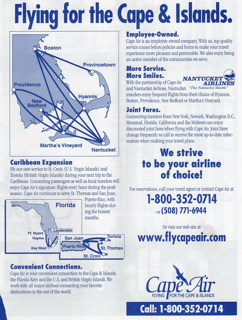 Cape Air Route Map Cape Air route maps, 2000 | Cape Air