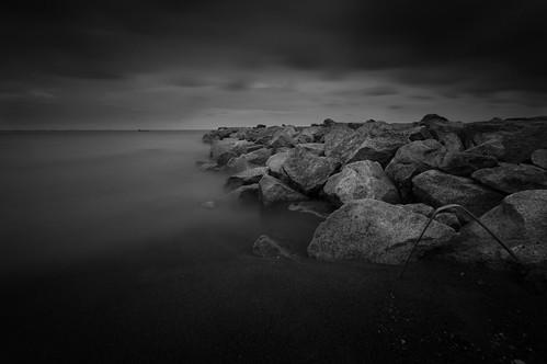 longexposure sunset cloud seascape motion black beach landscape rocks sony malaysia malacca nd400 a37 rocolax