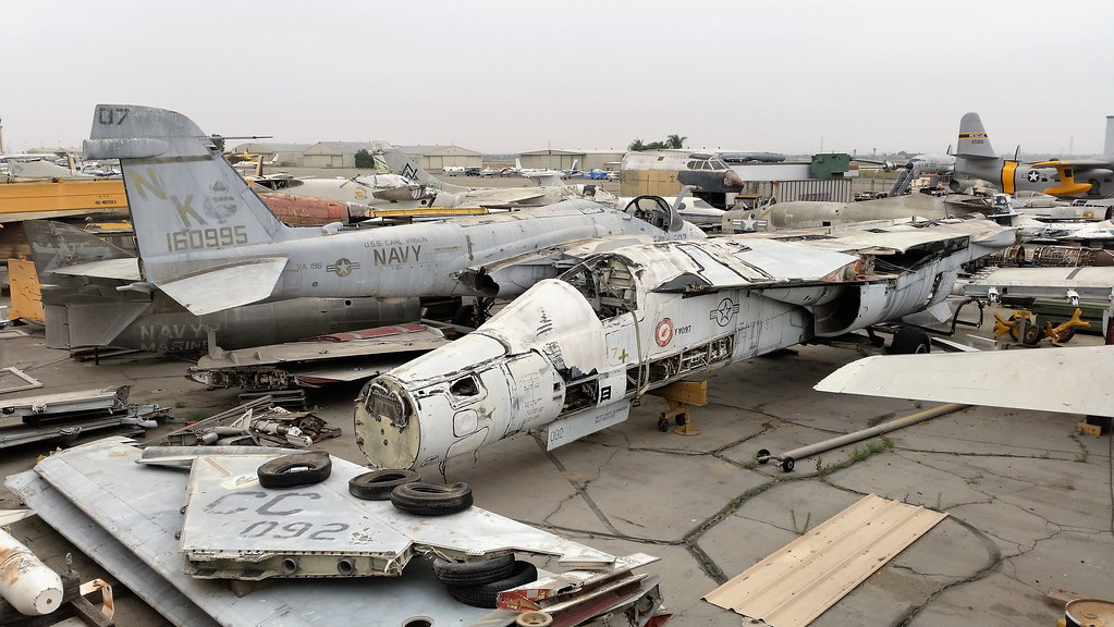 Part of the storage/ restoration area with the Yanks Air-Museum, Chino, California. In the foreground are F-111D 68-0092/CC ex 522nd