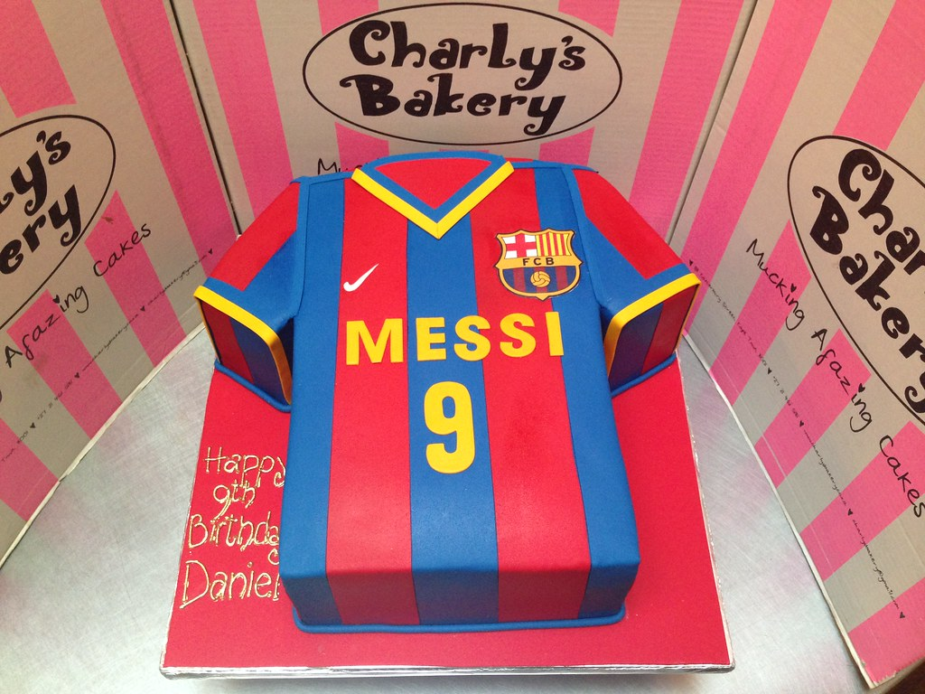 ae85f0932 ... 3D Barcelona FC Lional Messi t-shirt shaped cake covered in fondant  icing