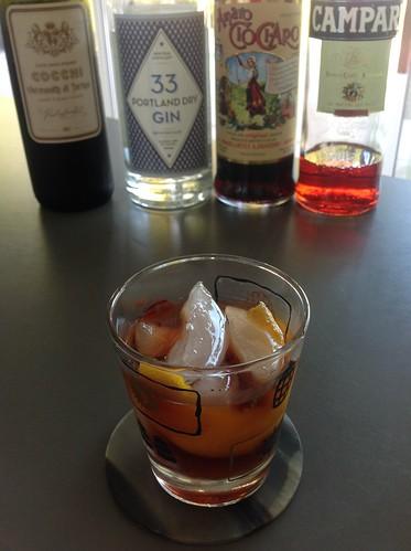 Negroni variation with 33 Portland dry gin, Campari, Cocchi vermouth di Torino, amaro Ciociaro #cocktail #cocktails #craftcocktails #negroni #gin #campari #ciociaro   by *FrogPrincesse*