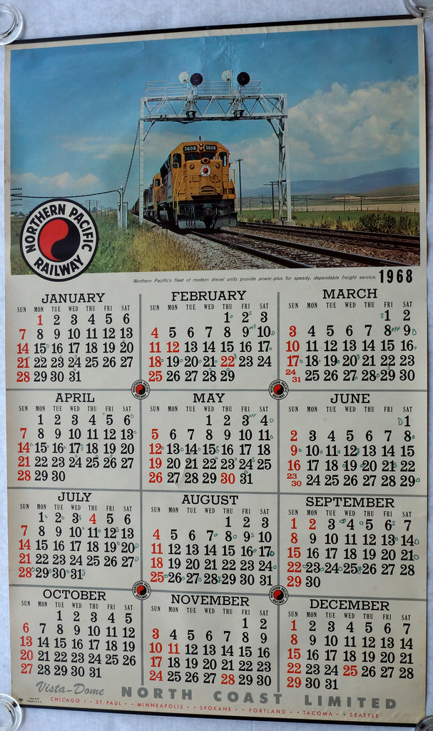 RD11342 1968 LARGE Northern Pacific Raildroad Calendar Diesel Mountains Form 5217 DSC04946