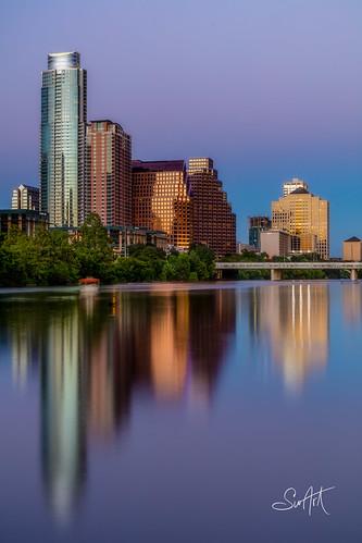 reflection austin cityscape texas sunset twilight